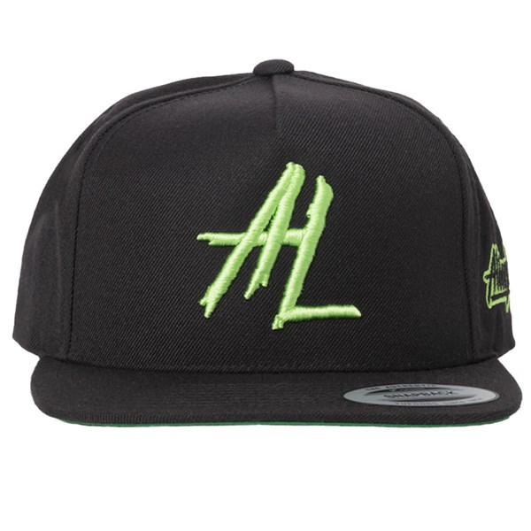 Alien Labs 5 Panel Embroidered Snapback - Black & Neon Green