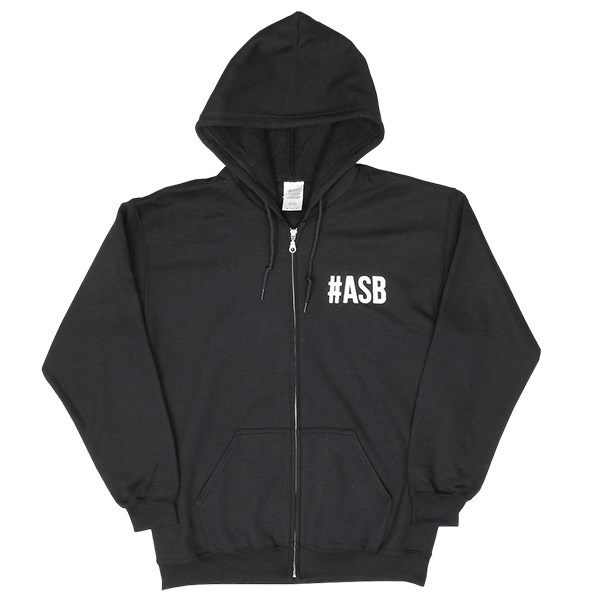 The Attitude #ASB and Fist Logo Zip Hoody - Black