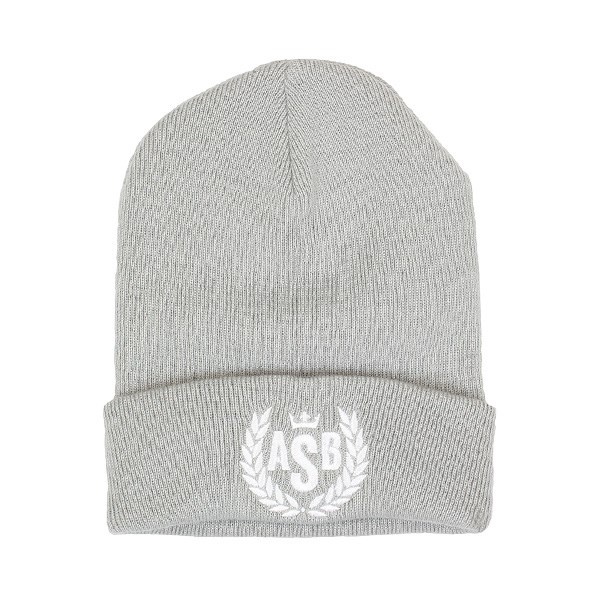The Attitude ASB Crown Embroidery Cuff Beanie - Light Grey