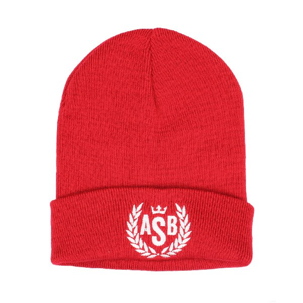 The Attitude ASB Crown Embroidery Cuff Beanie - Red