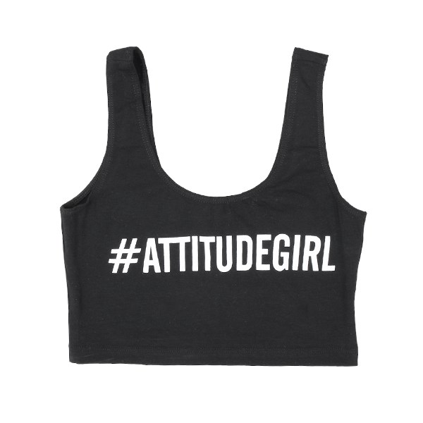 The Attitude Ladies #AttitudeGirl Black Crop Top