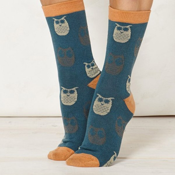 Thought Clothing Ladies Owlet Teal Bamboo Socks