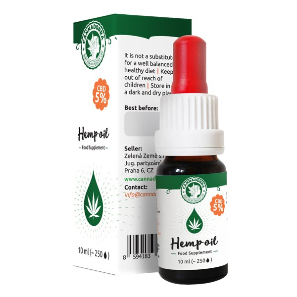 Cannadorra CBD Hemp Oil 5%, 10ml