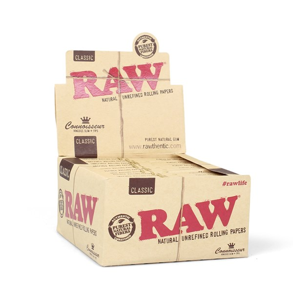 RAW Rolling Papers Classic Connoisseur King Size Slim Papers with Tips