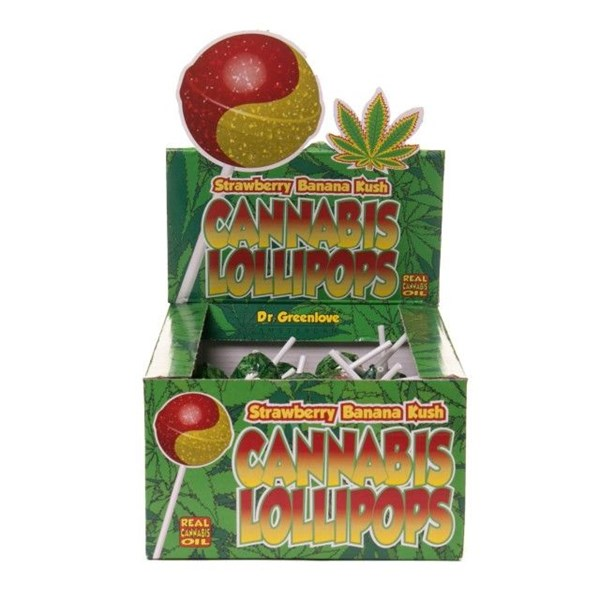 Dr. Greenlove Amsterdam Cannabis Lollipops - Strawberry Banana Kush