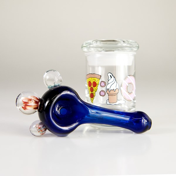 Blue Glass Spoon Pipe and 420 Science Jar Gift Set