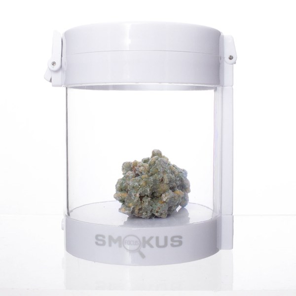 Smokus Focus Eclipse Magnifying Glass Illuminated Storage Jar Container - White