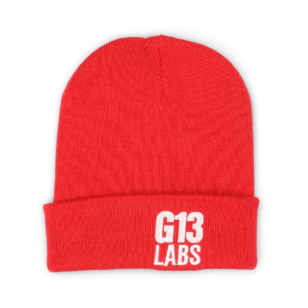 G13 Labs Side Trademark Embroidery Cuff Beanie Bright Red