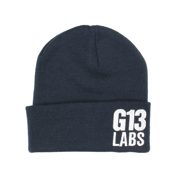 G13 Labs Side Trademark Embroidery Cuff Beanie Navy Blue