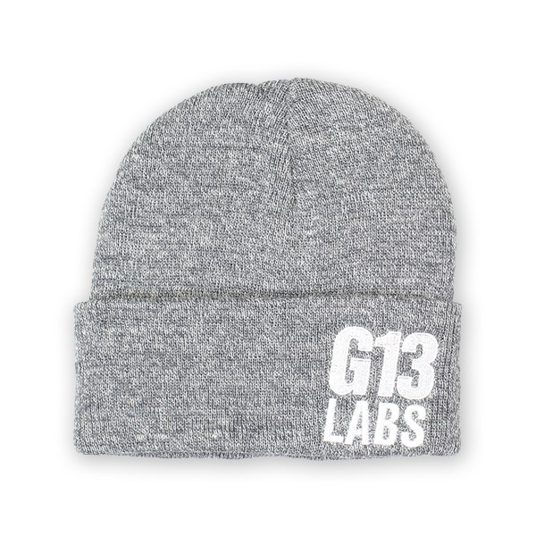 G13 Labs Side Trademark Embroidery Cuff Beanie Heather Grey