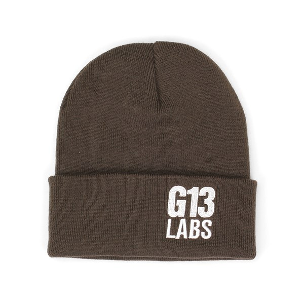 G13 Labs Side Trademark Embroidery Cuff Beanie Brown