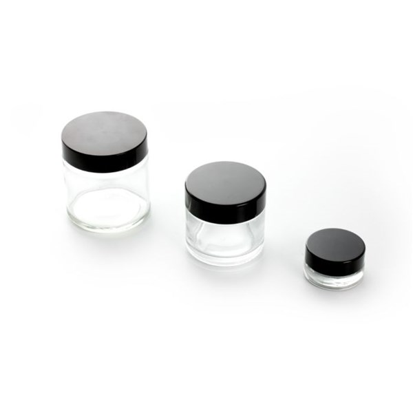 Clear Glass Container with Black Lid