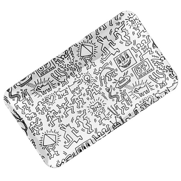 Keith Haring Glass Rolling Tray - Black & White