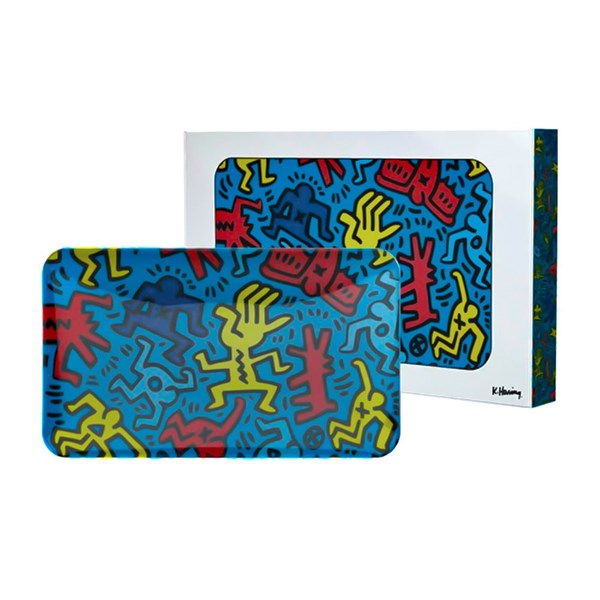 Keith Haring Glass Rolling Tray - Blue