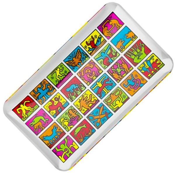 Keith Haring Glass Rolling Tray - Multi Colour
