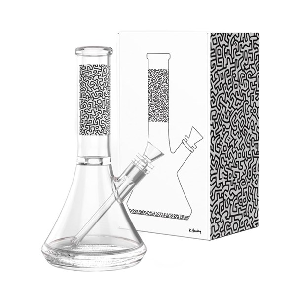 Keith Haring Glass Water Pipe - Black & White