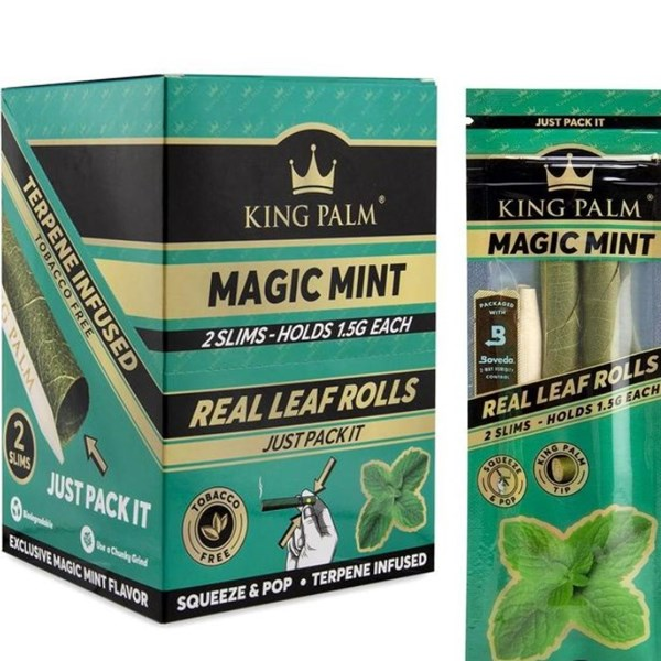 King Palm Rolls Natural Leaf Slim Rolls Magic Mint (2 Pack)