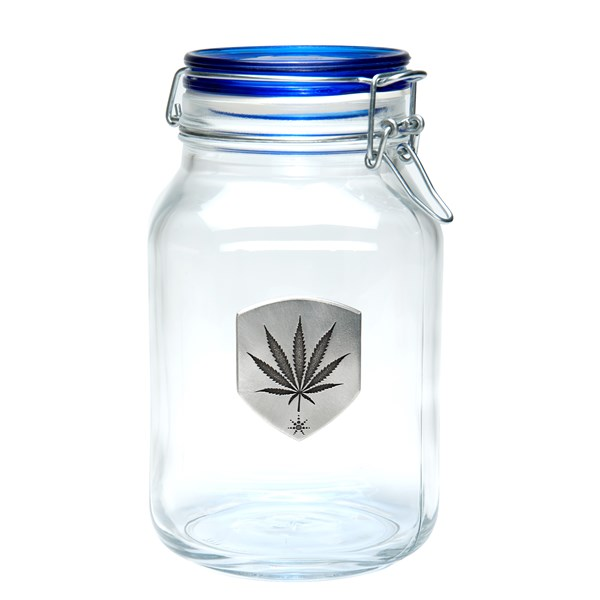 420Science Latch Top Stash Jar - Pewter Marijuana Leaf Medallion