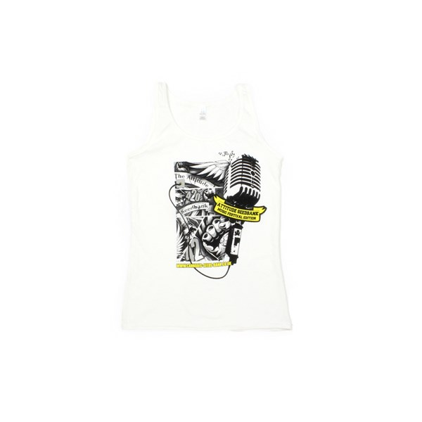 The Attitude Seedbank Ladies Vest Top - Microphone Festival - White