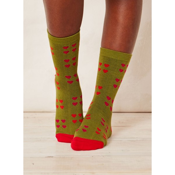 Thought Clothing Ladies Melrose Heart Aniseed Bamboo Socks