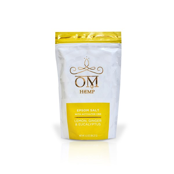OM CBD Epsom Salt with activated CBD - Lemon, Ginger, Eucalyptus