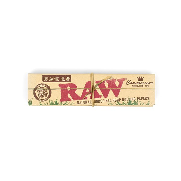 RAW Organic Hemp Connoisseur King Size Slim Papers with Tips