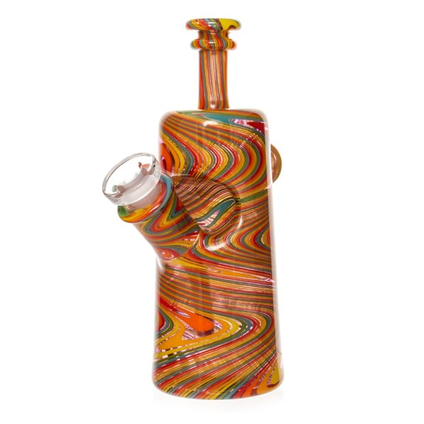 Nish Glass Purple Tint Fine Spiral Rewag Bottle Dab Rig