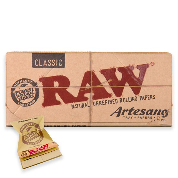 RAW Rolling Papers Classic Artesano King Size Slim Papers with Tips and Tray