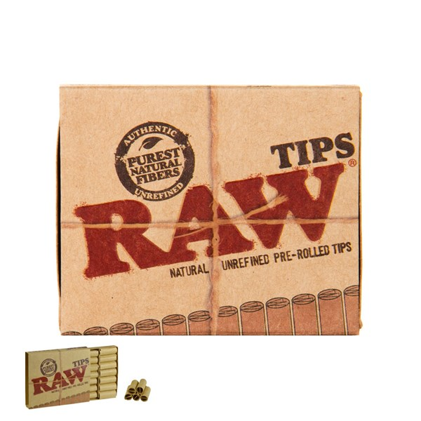 RAW Rolling Papers Natural Unrefined Pre-Rolled Filter Roach Tips