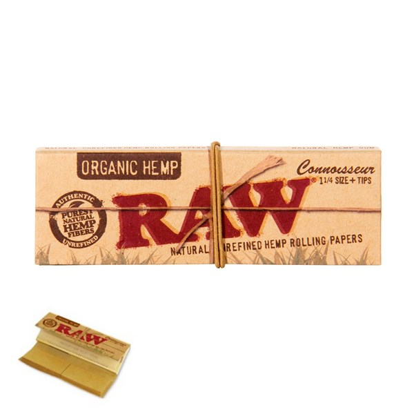 RAW Rolling Papers Organic Hemp Connoisseur 1 1/4 Papers with Tips