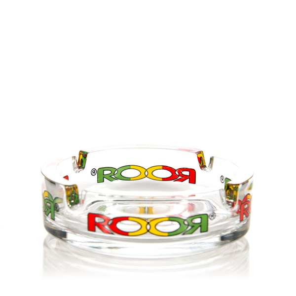 Roor Glass Ashtray Rasta Logo