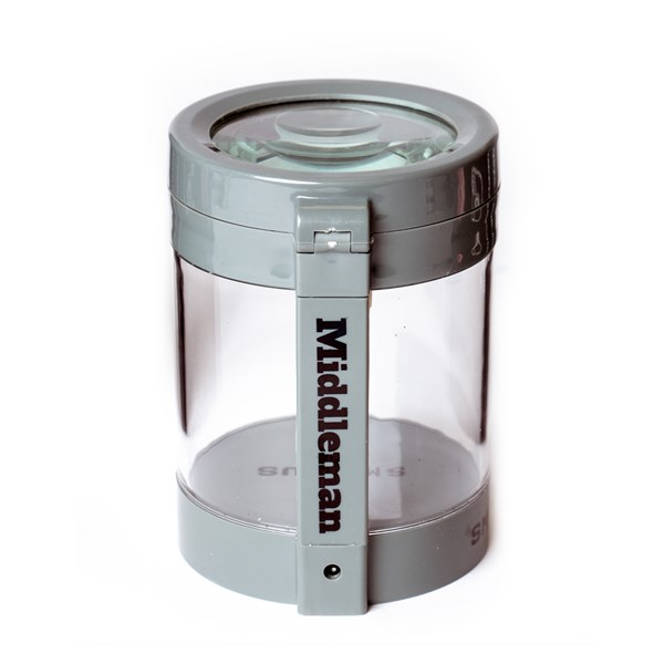 Smokus Focus The Middleman Magnifying LED Storage Jar Container - Grey