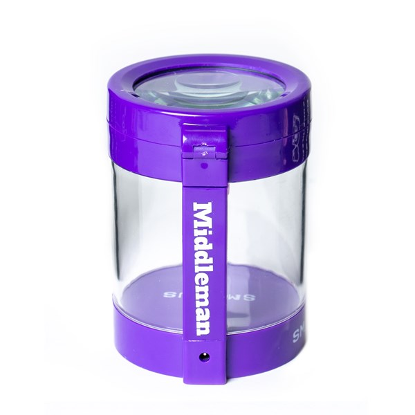 Smokus Focus The Middleman Magnifying LED Storage Jar Container - Purple
