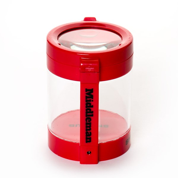 Smokus Focus The Middleman Magnifying LED Storage Jar Container - Indica Red