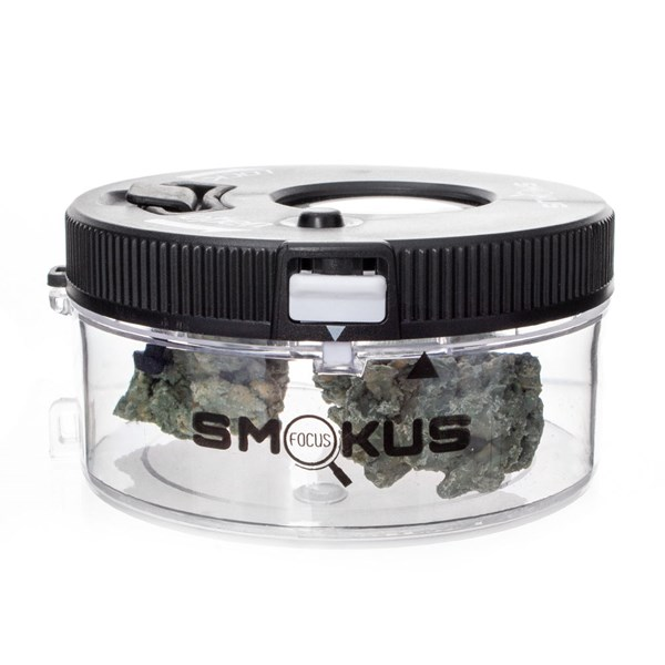 Smokus Focus Jet Pack Magnifying Glass Illuminated Storage Jar Container - Black