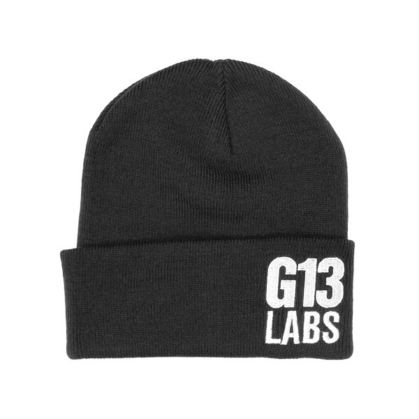 G13 Labs Side Trademark Embroidery Cuff Beanie Black