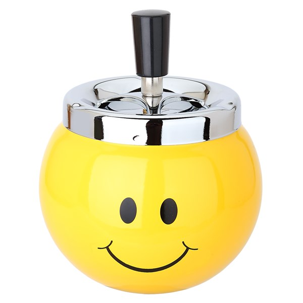 Metal Spinner Ashtray Smiley Design